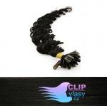 60 cm kudrnaté REMY vlasy k prodloužení keratinem - 0,7g uhlově černá #1