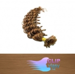 60 cm kudrnaté REMY vlasy k prodloužení keratinem - 0,7g světle hnědá #12