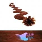 60 cm vlnité REMY vlasy k prodloužení keratinem - 0,5g měděná #350
