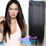 Clip in rychlopás 60cm 100% lidské vlasy - přírodní černá