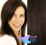Clip in vlasy REMY 38cm - tmavě hnědá #2