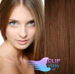 Clip in vlasy REMY 60cm - světlejší hnědá #6