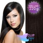 DELUXE Clip in vlasy REMY 50cm - přírodní černá #1b