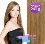 DELUXE Clip in vlasy REMY 60cm - světle hnědá #12