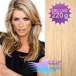 DELUXE Clip in vlasy REMY 50cm - melír přírodní a světlejší blond #18/22