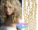 Kudrnaté 50 cm vlasy k prodloužení micro ring - 0,5g nejsvětlejší blond #613