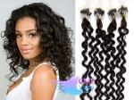 Kudrnaté 50 cm vlasy k prodloužení micro ring - 0,7g přírodní černá #1b