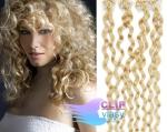 Kudrnaté 60 cm vlasy k prodloužení micro ring - 0,5g nejsvětlejší blond #613