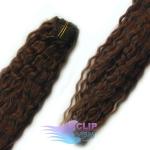 Kudrnaté clip in vlasy REMY 50cm - tmavě hnědá #2