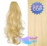 Kudrnatý clip in cop 60 cm kanekalon - nejsvětlejší blond #613