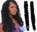 Kudrnaté tape in 50cm vlasy REMY - uhlově černá #1