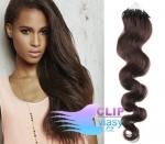 Vlnité 50 cm vlasy k prodloužení micro ring - 0,7g tmavě hnědá #2