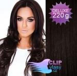 Vlnité DELUXE clip in vlasy REMY 50cm - přírodní černá #1b