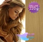 Vlnité DELUXE clip in vlasy REMY 50cm - přírodní blond #22