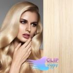 Vlnité clip in vlasy REMY 50cm - platina #60
