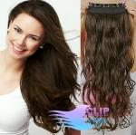 Vlnitý clip in pás 60cm 100% lidské vlasy - tmavě hnědá