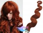 Vlnité tape in 50cm vlasy REMY - měděná #350