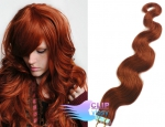 Vlnité tape in 60cm vlasy REMY - měděná #350