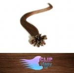 50 cm REMY vlasy k prodloužení metodou keratin - 0,5g světlejší hnědá #6