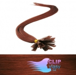 50 cm REMY vlasy k prodloužení metodou keratin - 0,7g měděná #350