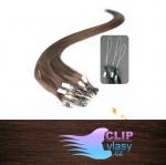 50 cm REMY vlasy k prodloužení micro ring - 0,5g středně hnědá #4