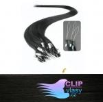 50 cm REMY vlasy k prodloužení micro ring - 0,7g uhlově černá #1