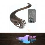 50 cm REMY vlasy k prodloužení micro ring - 0,7g tmavě hnědá #2
