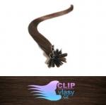 50 cm REMY vlasy k prodloužení metodou keratin - 0,7g středně hnědá #4