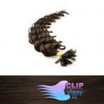 50 cm kudrnaté REMY vlasy k prodloužení keratinem - 0,7g tmavě hnědá #2