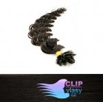 50 cm kudrnaté REMY vlasy k prodloužení keratinem - 0,5g přírodní černá #1b