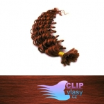 50 cm kudrnaté REMY vlasy k prodloužení keratinem - 0,5g měděná #350
