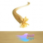 60 cm REMY vlasy k prodloužení metodou keratin - 0,5g přírodní blond #22