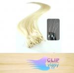 60 cm REMY vlasy k prodloužení micro ring - 0,7g nejsvětlejší blond #613