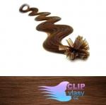 60 cm vlnité REMY vlasy k prodloužení keratinem - 0,7g světlejší hnědá #6