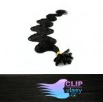 60 cm vlnité REMY vlasy k prodloužení keratinem - 0,5g uhlově černá #1