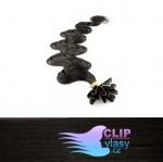 60 cm vlnité REMY vlasy k prodloužení keratinem - 0,5g přírodní černá #1b