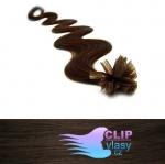 60 cm vlnité REMY vlasy k prodloužení keratinem - 0,5g tmavě hnědá #2