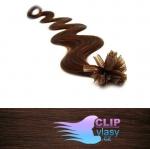 60 cm vlnité REMY vlasy k prodloužení keratinem - 0,5g středně hnědá #4