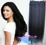 Clip in rychlopás 60cm 100% lidské vlasy - černá