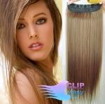 Clip in rychlopás 60cm 100% lidské vlasy - světle hnědá