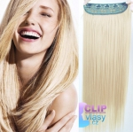 Clip in rychlopás 60cm 100% lidské vlasy - platina