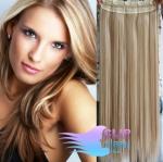 Clip in rychlopás 60cm 100% lidské vlasy - platina/světle hnědá