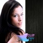 Clip in vlasy REMY 38cm - uhlově černá #1