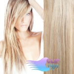 Clip in vlasy REMY 38cm - melír platina/světle hnědá #60/16