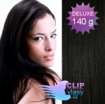 DELUXE 40cm clip in vlasy REMY - uhlově černá #1