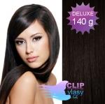 DELUXE 40cm clip in vlasy REMY - přírodní černá #1b
