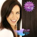 DELUXE 40cm clip in vlasy REMY - tmavě hnědá #2