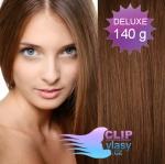 DELUXE 40cm clip in vlasy REMY - středně hnědá #6
