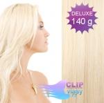 DELUXE 40cm clip in vlasy REMY - platina #60