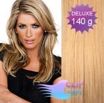 DELUXE 40cm clip in vlasy REMY - melír přírodní a světlejší blond #18/22
